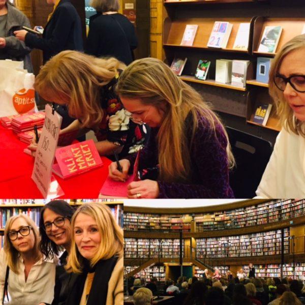 Bildcollage med Ninni Hasselberg, Annika Lantz och Sara Kadefors under en föreläsning om klimakteriet i Stadsbiblioteket