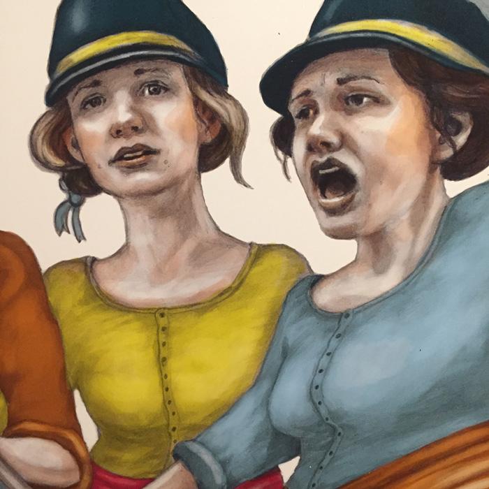 Utdrag ur ett målat konstverk. Två arga kvinnor