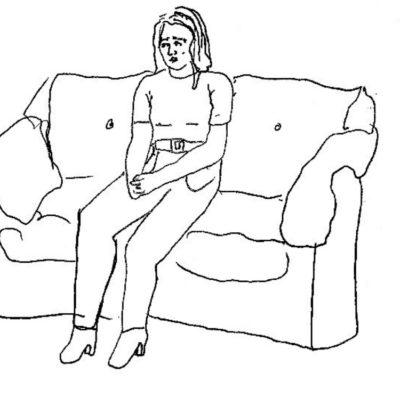 Illustrerad bild på ledsen kvinna som sitter i en soffa